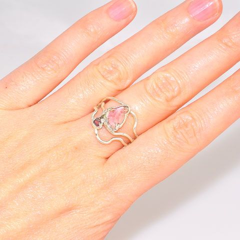 .999 Fine Silver Watermelon Tourmaline and Pink Tourmaline Ring