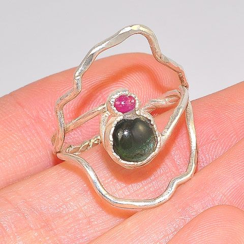 .999 Fine Silver Green Tourmaline and Ruby Ring