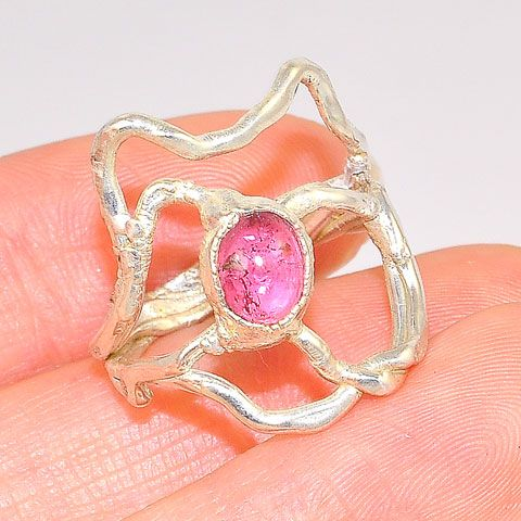 .999 Fine Silver Pink Tourmaline Ring
