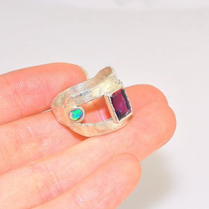.999 Fine Silver Amethyst and Opal Ring