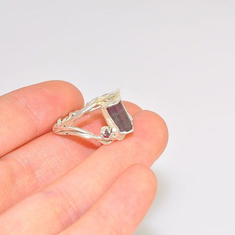 .999 Fine Silver Tourmaline and Tourmaline Crystal Ring