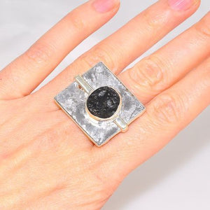 BOLD! Sterling Silver Meteorite and Moldavite Statement Ring (Size 8.5)