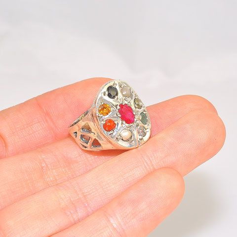 Sterling Silver India Navaratna Oval Ring