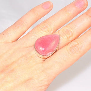 Sterling Silver Rhodonite Teardrop with Scroll Band Ring