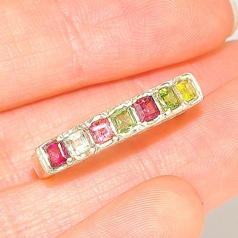 Sterling Silver India Multicolor Tourmaline Band Ring