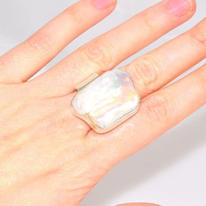 Sterling Silver Freeform Freshwater Pearl Ring