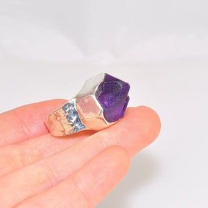 Sterling Silver Amethyst Crystal Ring