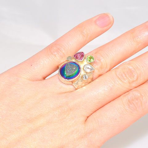 Sterling Silver Titanium Druzy, Pink Tourmaline, Peridot and White Topaz Ring