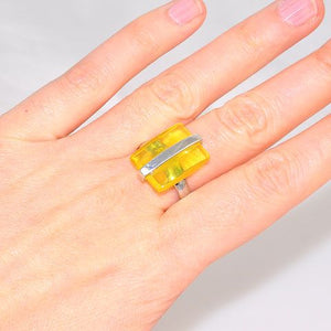 Sterling Silver Baltic Butterscotch Amber Rectangle Ring