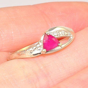 Sterling Silver Triangle Ruby Ring