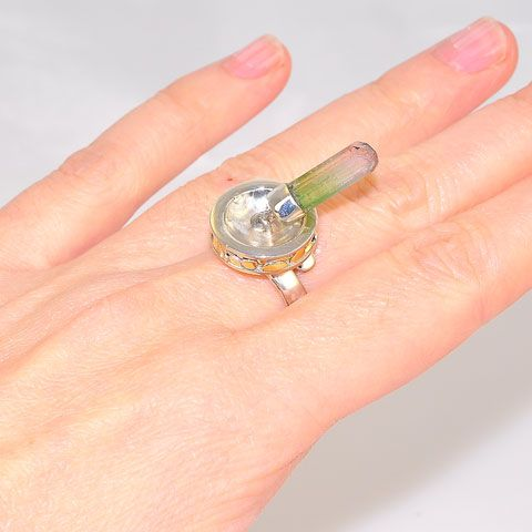 Sterling Silver Watermelon Tourmaline Crystal Ring