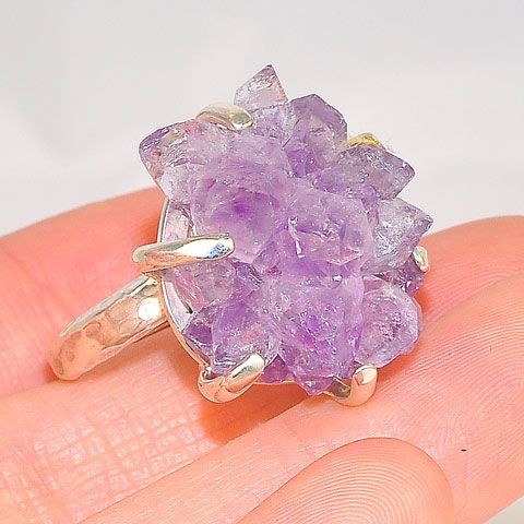 Sterling Silver Amethyst Crystal Cluster Ring