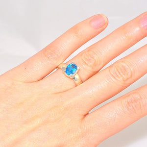 Sterling Silver Blue Topaz Oval Prong Ring