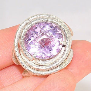 Sterling Silver Wire Wrapped Amethyst Ring