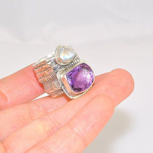 Sterling Silver Amethyst and Moonstone Wide Banded Ring