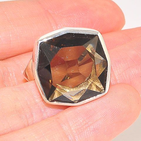 Sterling Silver Smoky Quartz Faceted Ring