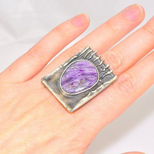Oxidized Sterling Silver Russian Charoite Native Rectangle Ring