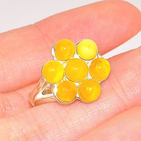 Sterling Silver Baltic Butterscotch Amber Flower Ring