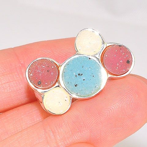 Sterling Silver Multicolor Druzy Bubblegum Ball Ring