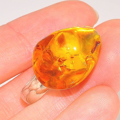 Sterling Silver Baltic Honey Amber Nugget Ring
