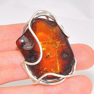 Sterling Silver Baltic Honey Amber Wire Wrap Ring