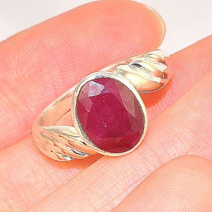 Sterling Silver Ruby Oval Ring