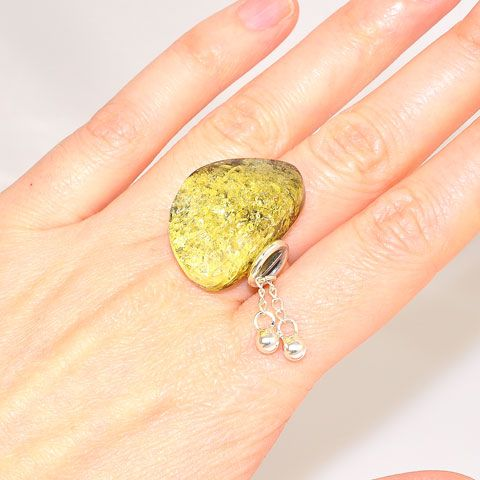 Sterling Silver Baltic Green Amber Ring