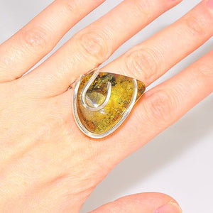 Sterling Silver Baltic Green Amber Wire Wrap Ring
