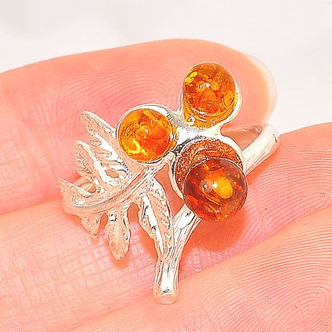 Sterling Silver Baltic Honey Amber Leaf Ring