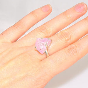 Sterling Silver Rough Rose Quartz Ring