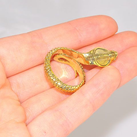 22K Gold Over Brass Cobra Snake Ring
