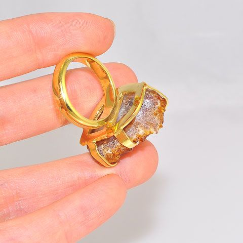 18K Gold Plated Over Brass Citrine Druzy Ring