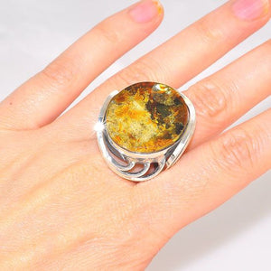 Sterling Silver Baltic Honey Amber Circle Wire Wrap Ring