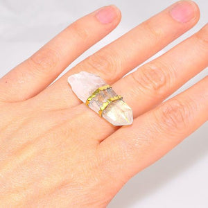 22K Gold Over Brass Clear Quartz Crystal Ring