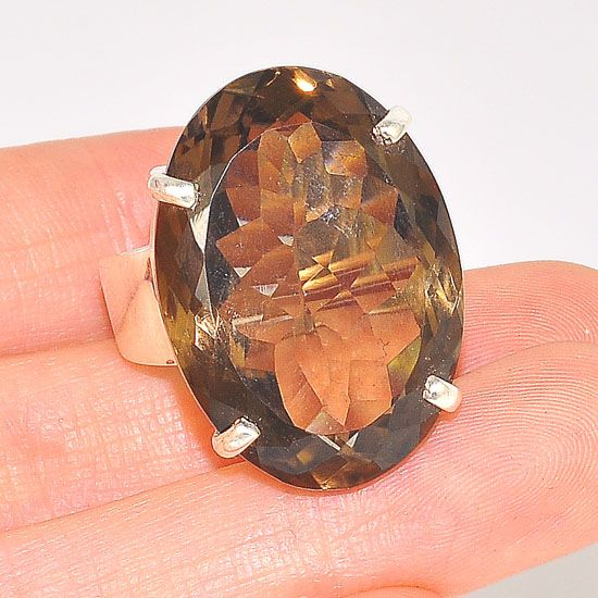 Sterling Silver Smokey Quartz Oval Ring