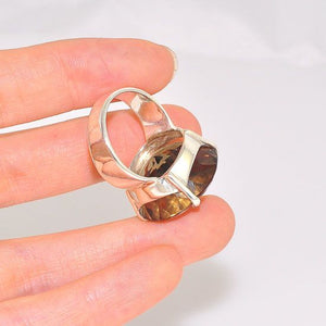 Sterling Silver Smokey Quartz Circle Ring