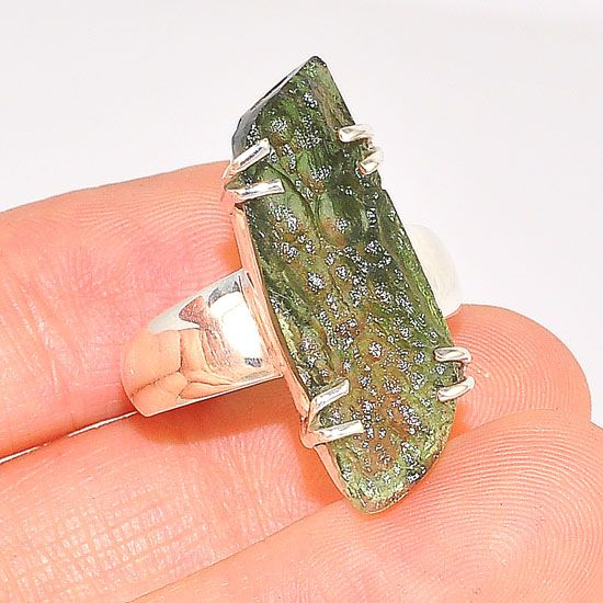 Sterling Silver Moldavite Ring