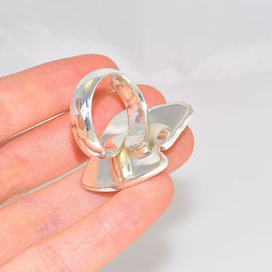 Charles Albert Sterling Silver Blue, Orange and Clear Beach Glass Ring