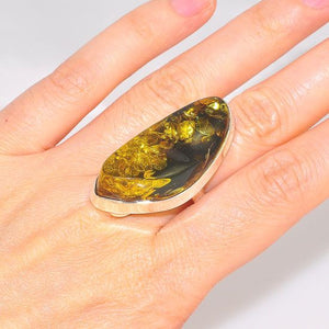 Bold Sterling Silver Baltic Green Amber Ring (Size 8.5)