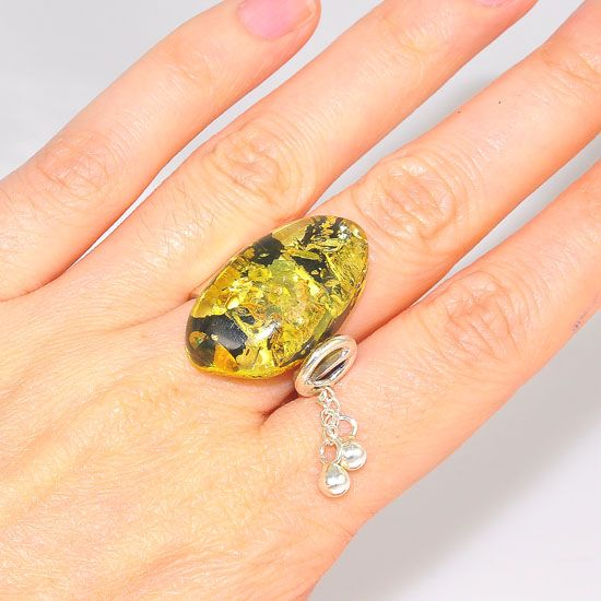 Sterling Silver Baltic Green Amber With Dangle Chain Ring
