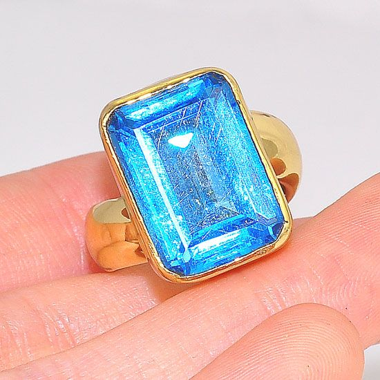 Charles Albert Alchemia Blue Topaz Rectangle Ring