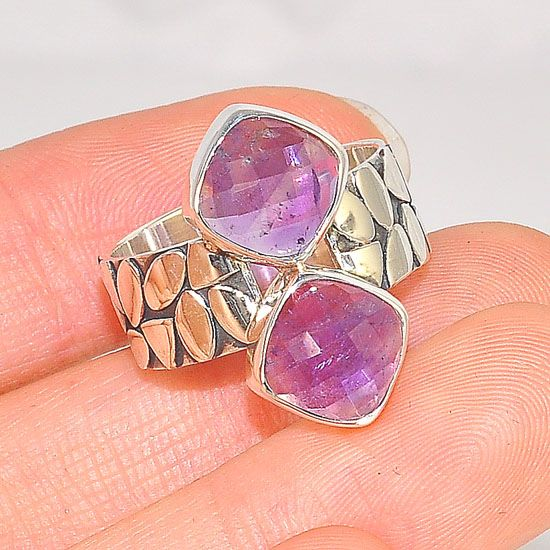 Sterling Silver Cobblestone Band and Duet Amethyst Ring