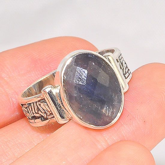 Sterling Silver Sprinkle Band Smokey Quartz Oval Ring