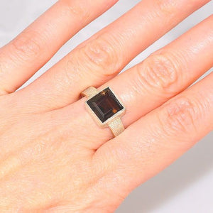 Sterling Silver Speckled Band Smokey Quartz Square Ring