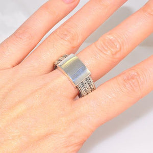 Sterling Silver Triple Banded Chain Braid and Solid Plate Ring