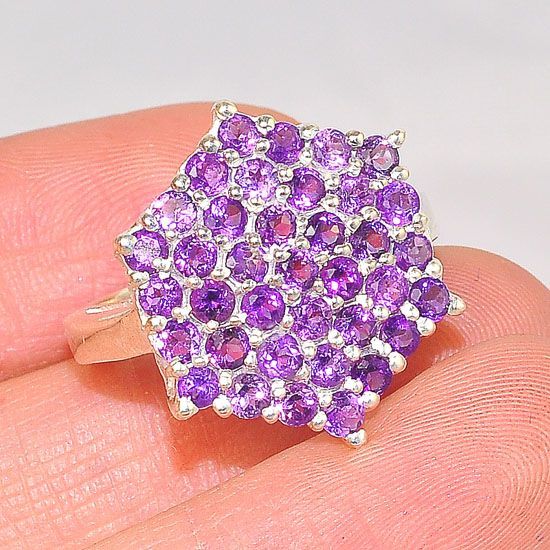 Sterling Silver India Amethyst Bead Cluster Star Ring