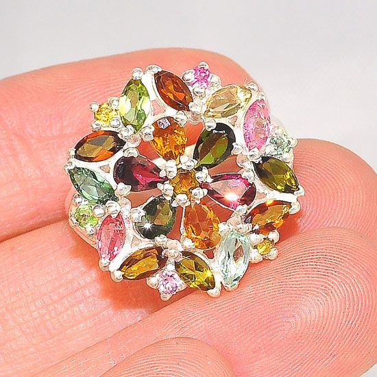 Sterling Silver India Multicolored Tourmaline Large Starburst Flower Ring
