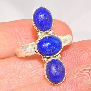Sterling Silver India Lapis Lazuli Trio Bead Ring