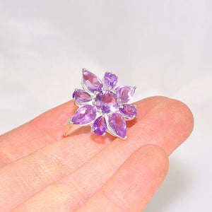 Sterling Silver India Amethyst Starburst Flower Ring