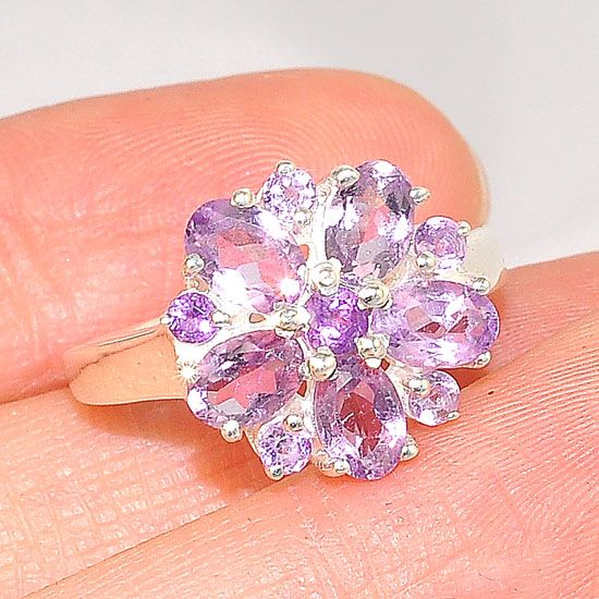Sterling Silver India Whimsical Amethyst Small Flower Ring